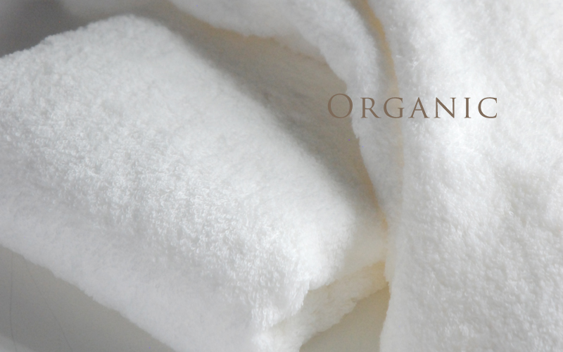 フランジュールのオリジナル高級オーガニックタオル。オーガニックコットンの優しい肌触り。
